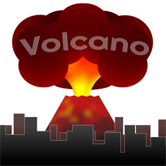 Erupting volcano on the background of the houses of the city. Vector