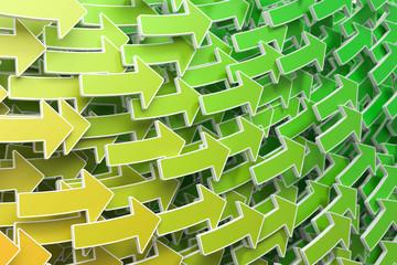 3D Illustration grüne Pfeile Aufstieg
