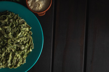 Homemade noodles with pesto