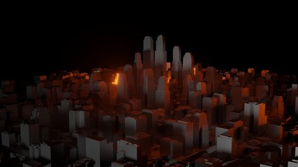 3d city with bright red flashes on a dark background