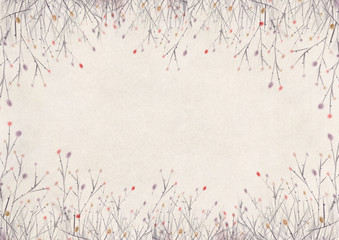 Beige vintage background, branches without leaves in the form of a frame