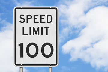 US 100 mph Speed Limit sign