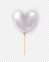 Vector glossy white air balloon in heart form. Illustration of realistic air 3d balloon isolated on transparent background.