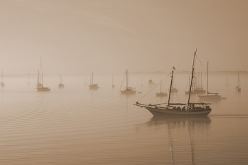 Sail boats in the fog in St Augustine