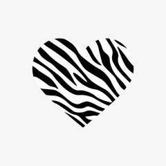 Heart shaped zebra print. Vector illustration. Valentines day. Greeting card.