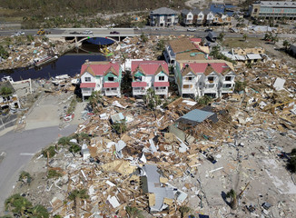 Aerial photo shows damaged and destroyed homes after Hurricane Michael smashed into Florida's northwest coast in Mexico Beach