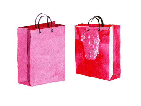 Set of Pink shopping bags. Watercolor illustration isolated on white background