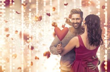 Banner Hintergrund Paar Pärchen Bokeh Lichter Liebe Herz Valentinstag
