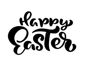 Hand drawn Happy Easter modern brush calligraphy text. Ink illustration Vector. Isolated on white background