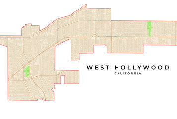 Vector map of West Hollywood, California, USA