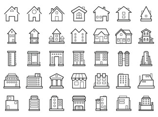 Homes and Buildings. Set of outline modern futuristic building icons.
