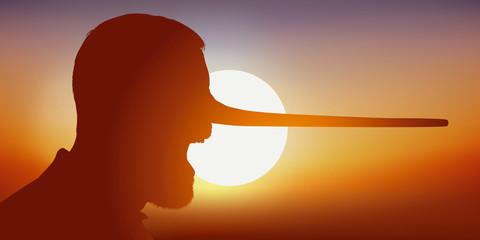 Concept de la désinformation et du mensonge avec comme symbole, un homme qui ment et voit son nez s'allonger