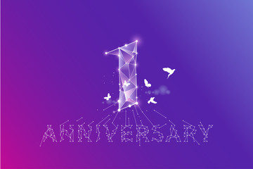 The particles, geometric art, line and dot of anniversary 1 year