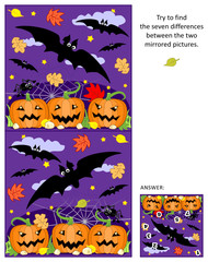 Halloween themed visual puzzle: Find the seven differences between the two mirrored pictures of flying bats, pumpkin field, spider. Answer included.
