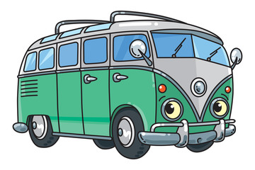 Funny small retro bus or van with eyes