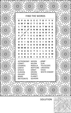 Puzzle and coloring activity page for grown-ups with astronomy or outer space themed word search puzzle (English) and wide decorative frame to color. Family friendly. Answer included.