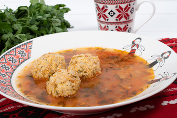 Top view of plate with meatballs soup, traditional plate of the Romanian cuisine Fototapete