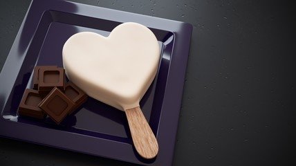 White chocolate ice cream with heart shape and ounces of chocolate on plate 2