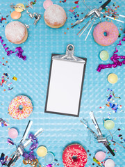 blue carnival effect background with various carnival utensils
