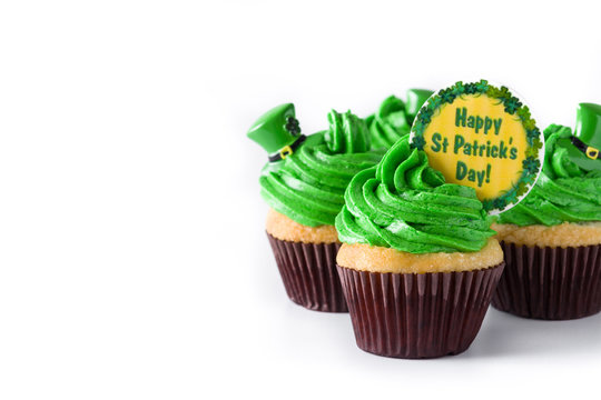 St. Patrick's Day cupcakes isolated on white background. Copy space