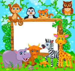 Cute animals near wooden board and blank white banner
