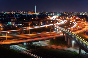 Washington DC at night from an aerial vantage point with traffic