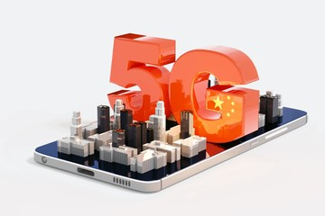 China is racing ahead in 5G - 3D illustration