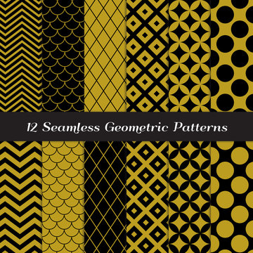 Gold, Black and White Geometric Seamless Vector Patterns. Pack of Mod Style Backgrounds in Jumbo Polka Dot, Diamond Lattice, Scales, Quatrefoil and Chevron Patterns. Pattern Tile Swatches Included.