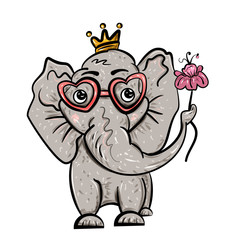 Elephant in the crown and with a flower. Isolated on white. Valentine's Day. Feast of Love. Vector illustration. - Vector
