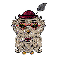 Owl in a hat with a feather and glasses with hearts. Isolated on white. Valentine's Day. Feast of Love. Vector illustration. - Vector
