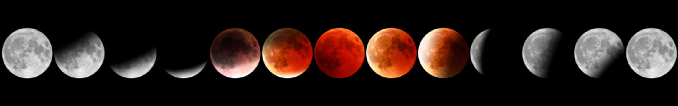 Banner astronomical background. Full red moon phases by night. The total phases of the lunar eclipse. Wide panorama.