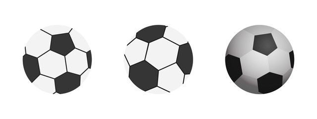 Soccer ball icon. Flat vector illustration football ball in black on white background.