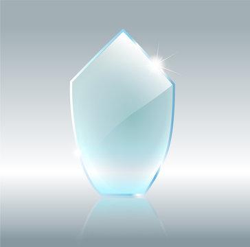 Transparent glass shield, vector illustration . Realistic 3D design. Vector transparent object .