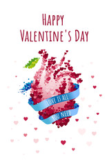 St Valentine's day greeting card with blue ribbon and anatomical human heart. Vector illustration collection