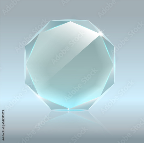 Realistic Blank Vector Glass Trophy Award  Realistic 3D