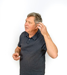 man with hearing aid