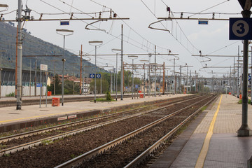 Railway station in Prato Central Station, Tuscany, Italy.