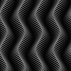 Vector seamless texture. Modern geometric background with wavy lines of dots.