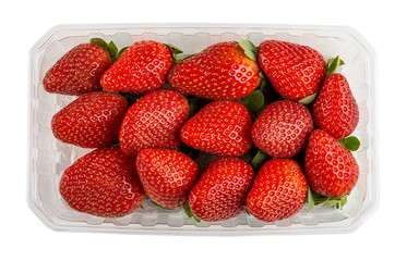 Ripe fresh strawberries in plastic container isolated on white. Top view
