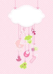 Baby Girl Card Cloud Symbols Hanging Pink