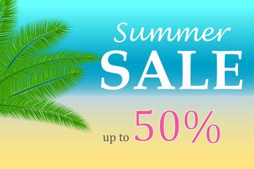 Sale banner with palm leaves. Floral tropical holidays background. Vector illustration. Hot Summer Sales design. Eps 10.