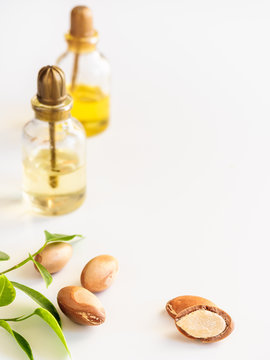 Bottles with oil argan nuts. Cosmetic means. Food product. Jar with argan oil on the isolated background