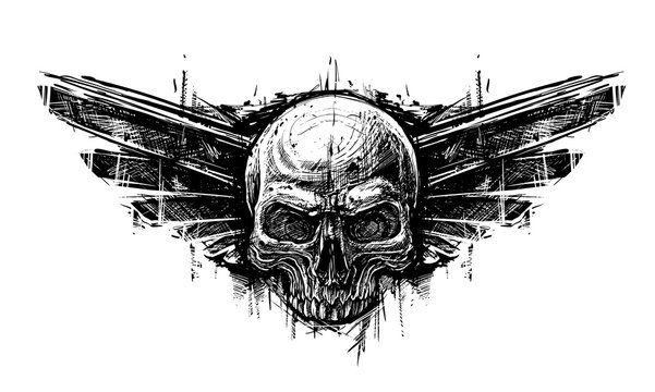 Detailed graphic hand drawn realistic black and white human skull with wings. Trash polka style. On white background. Vector icon.