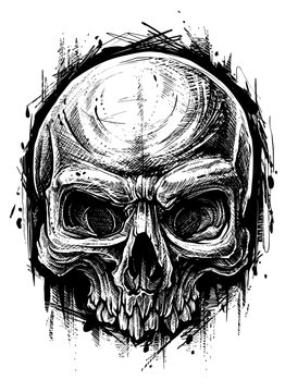 Detailed graphic hand drawn realistic black and white angry human skull. Trash polka style. On white background. Vector icon.