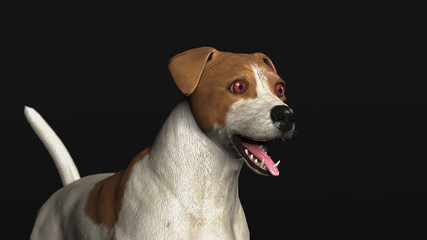 Little terrier dog with amazed eyes and open mouth 3d illustration