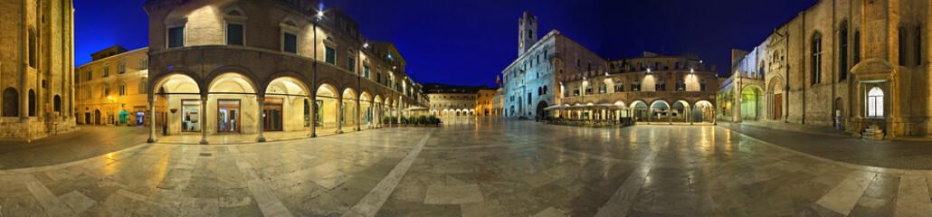 Fotobehang Artistiek mon. Ascoli Piceno, Piazza del Popolo a 360 gradi