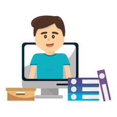 Boy inside computer design