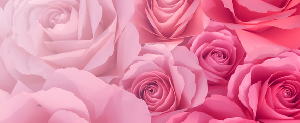 close up top view of pink petal flowers panoramic background for valentine's day 14 february , mother day and international women day concept