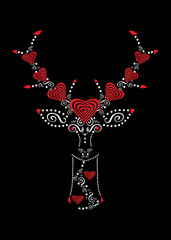 Valentine background with deer icon and hearts vector illustration