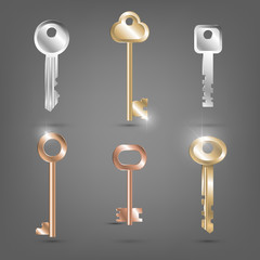 A set of various metal shiny keys, apartment keys, security